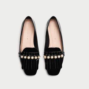 Zara pearl loafers